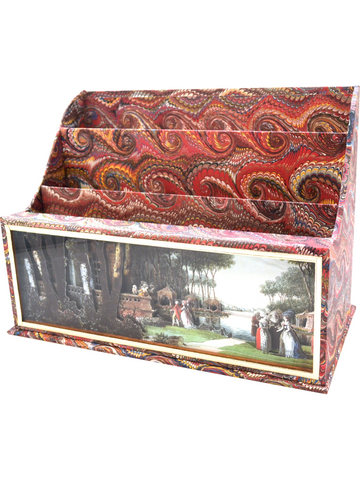 Carmontelle diorama cartonnage three compartment letter holder Italian red marble