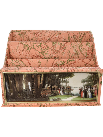 Carmontelle diorama cartonnage three compartment letter holder French pink marble