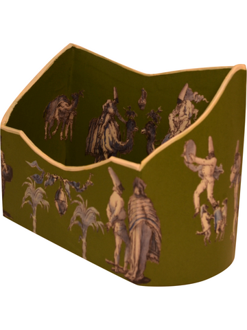 Baroque letter holder in Tiepolo's Punchinello drawings in blue and white on moss