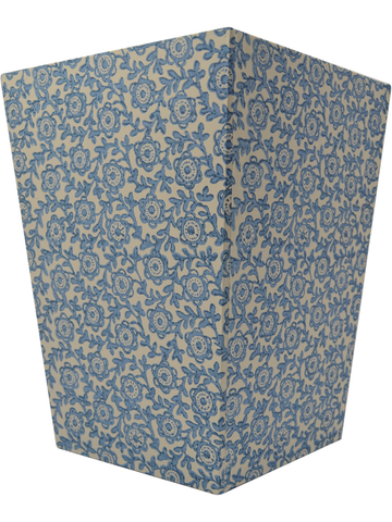 Wastepaper Basket in Fiori Blue Italian Paper