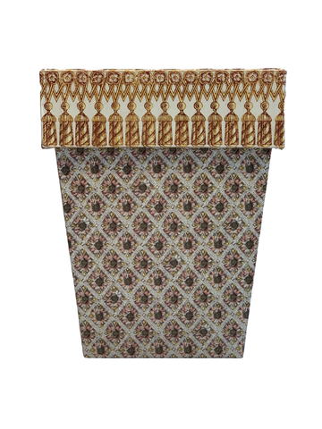 Waste Paper Basket with Tassel Fringe Cuff on Giordino