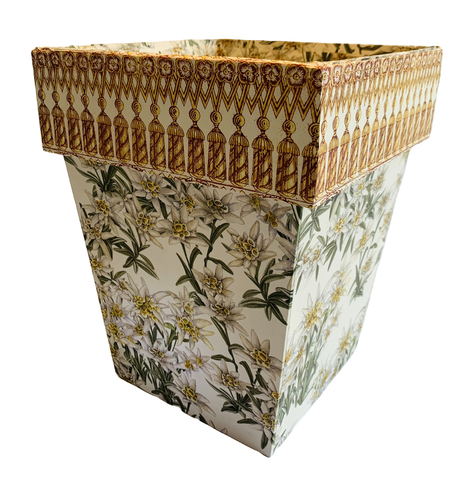 Waste Paper Basket with Tassel Fringe Cuff on Edelweiss