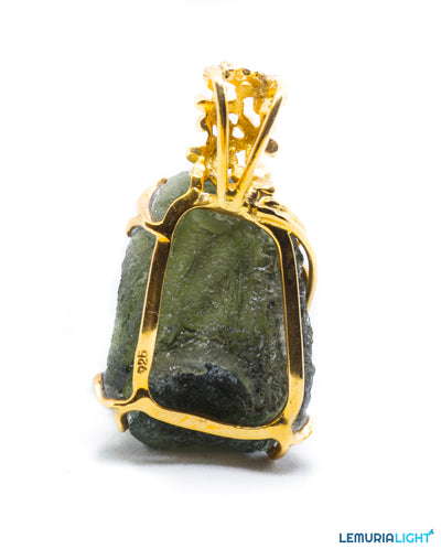 Designer Moldavite Floral with Bronze coated silver frame