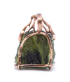 Designer Moldavite Pendant with Gold coated silver frame.