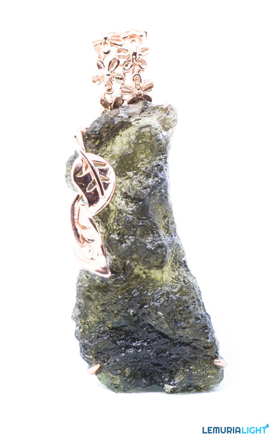 Designer Moldavite Pendant with Bronze coated silver frame.