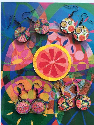 Mixed Fruit Jemma Skellett Print Earrings