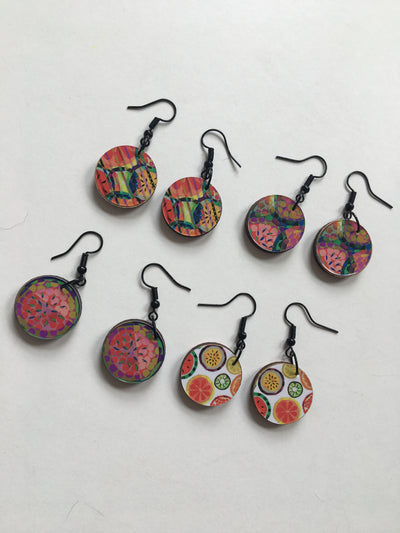 Colourful Fruit Jemma Skellett Print Earrings