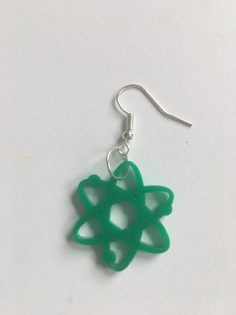 Atom forest green acrylic earrings