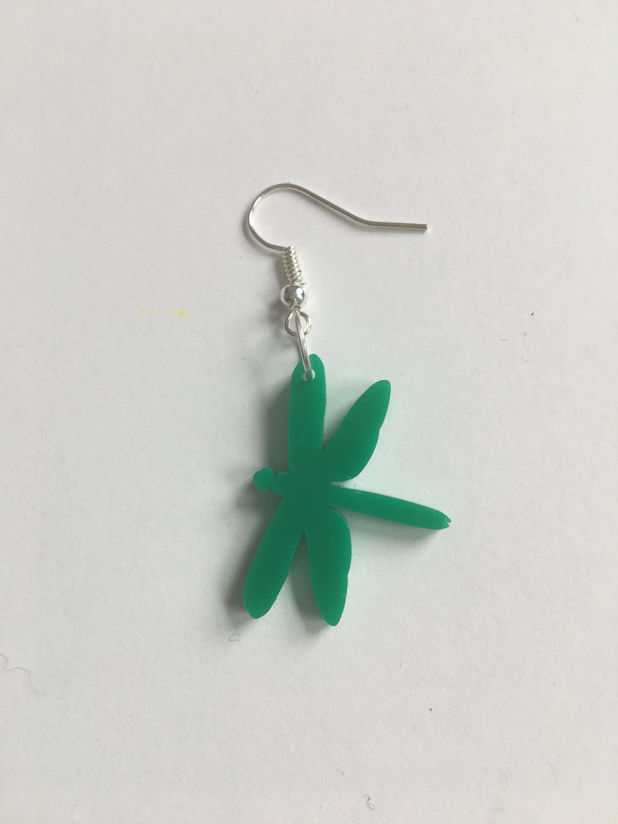 Forest green dragonfly acrylic earrings