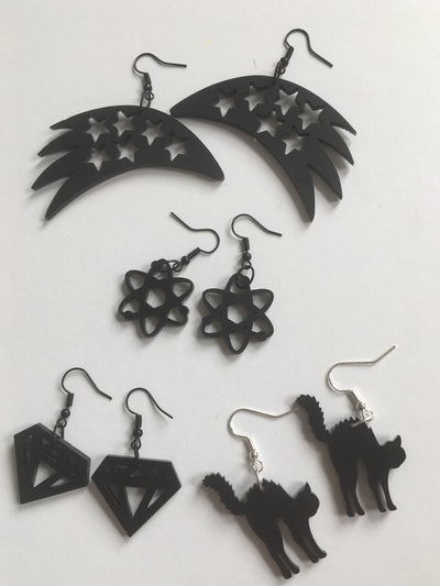 Atom black acrylic earrings