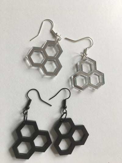 Honeycomb black acrylic earrings