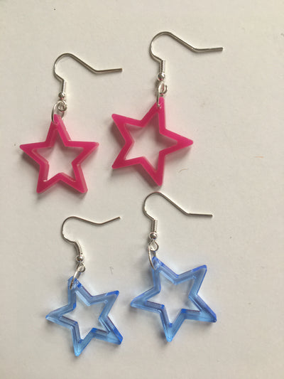 Pink star acrylic earrings