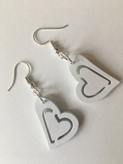 White heart earrings