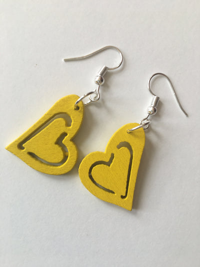 Yellow heart earrings