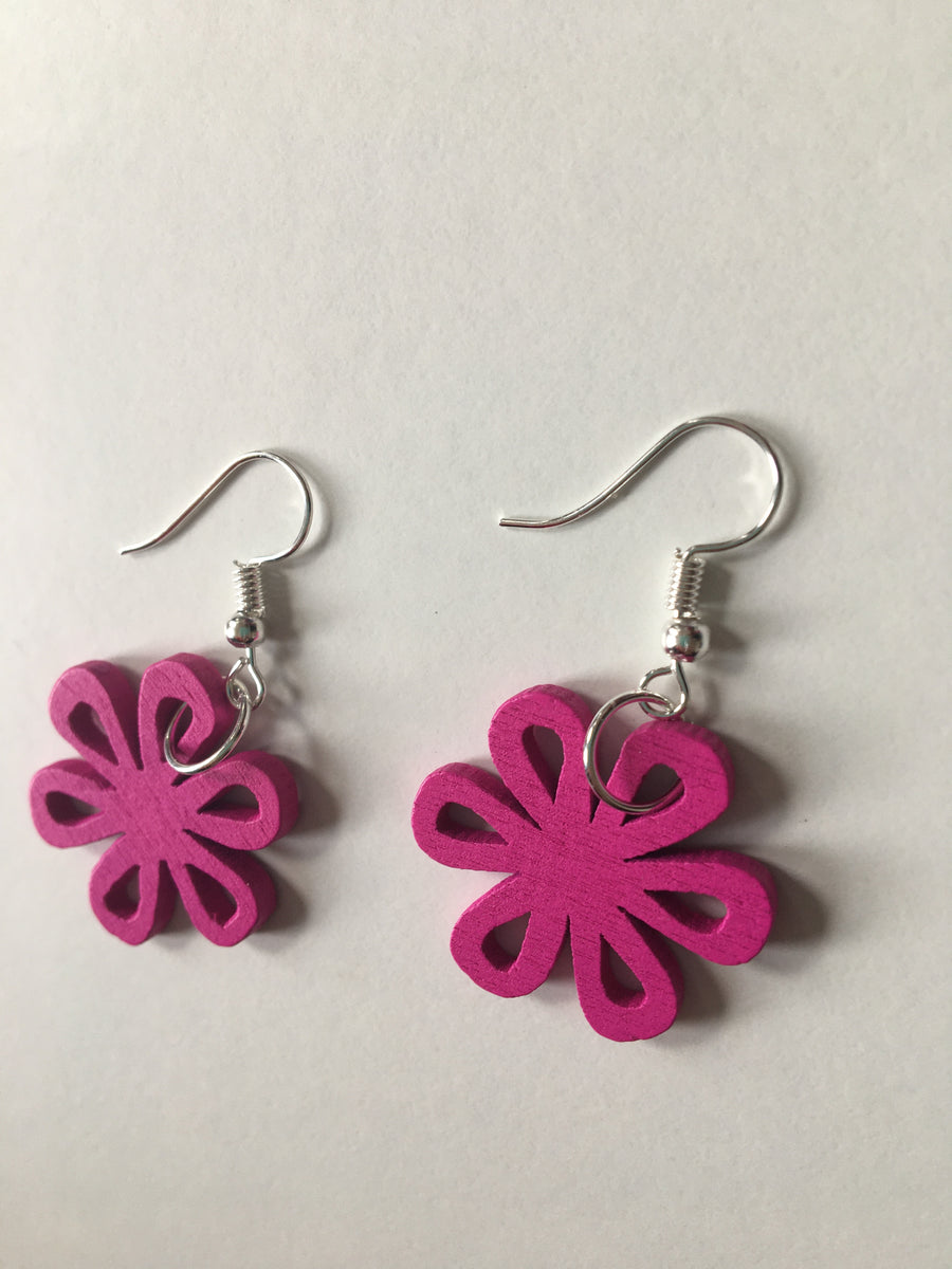 Pink swirly earrings