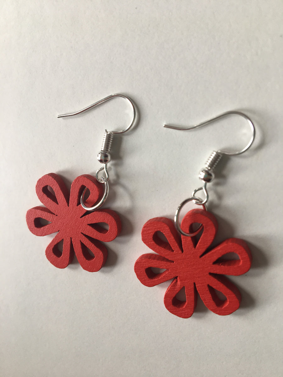 Red swirly earrings