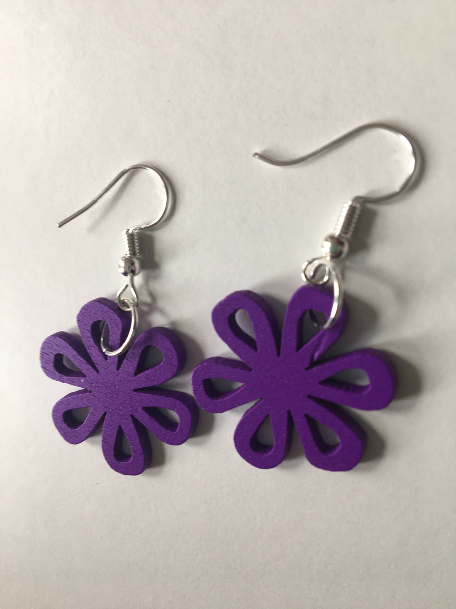 Purple swirly earrings