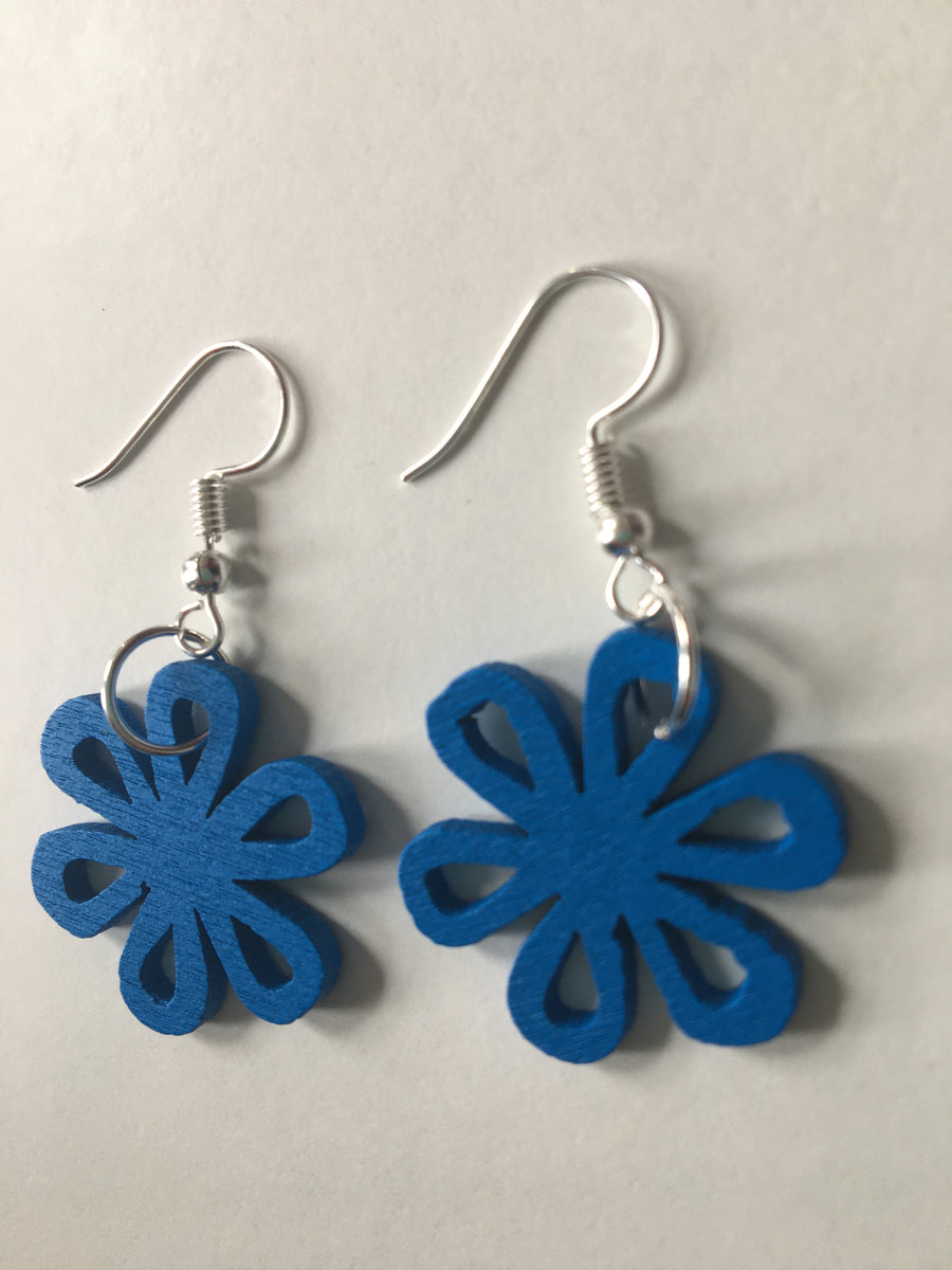 Blue swirly earrings