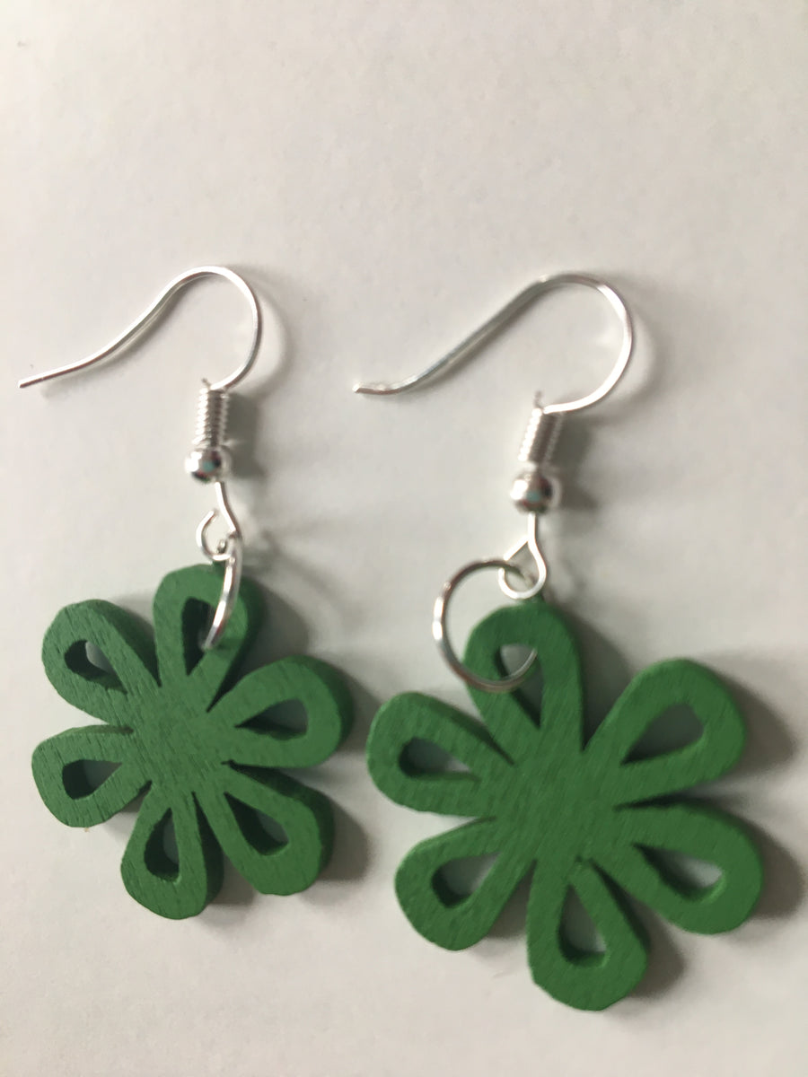 Green swirly earrings