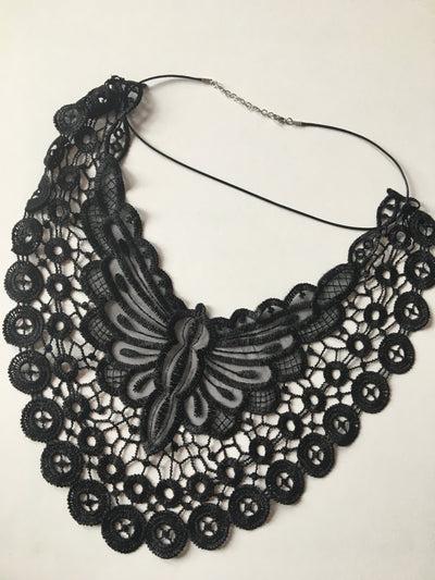 Black butterfly lace necklace