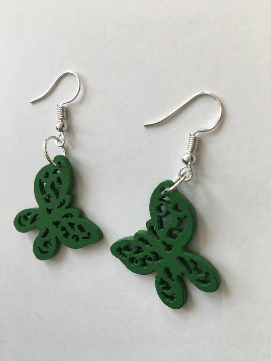 Green butterfly earrings