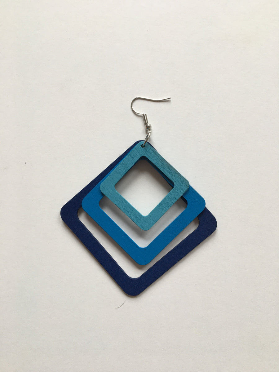 Triple square wooden earrings - blues