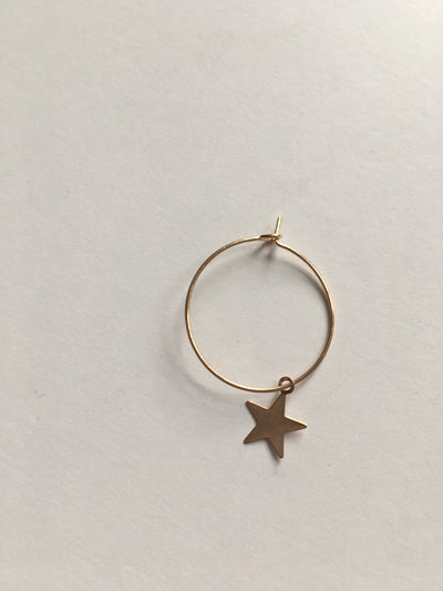 Gold circle star earrings