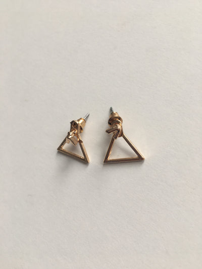 Gold triangle shaped earrings