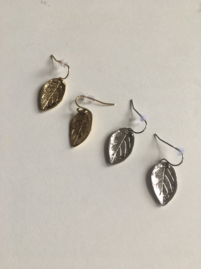 Silver leaf shaped earrings