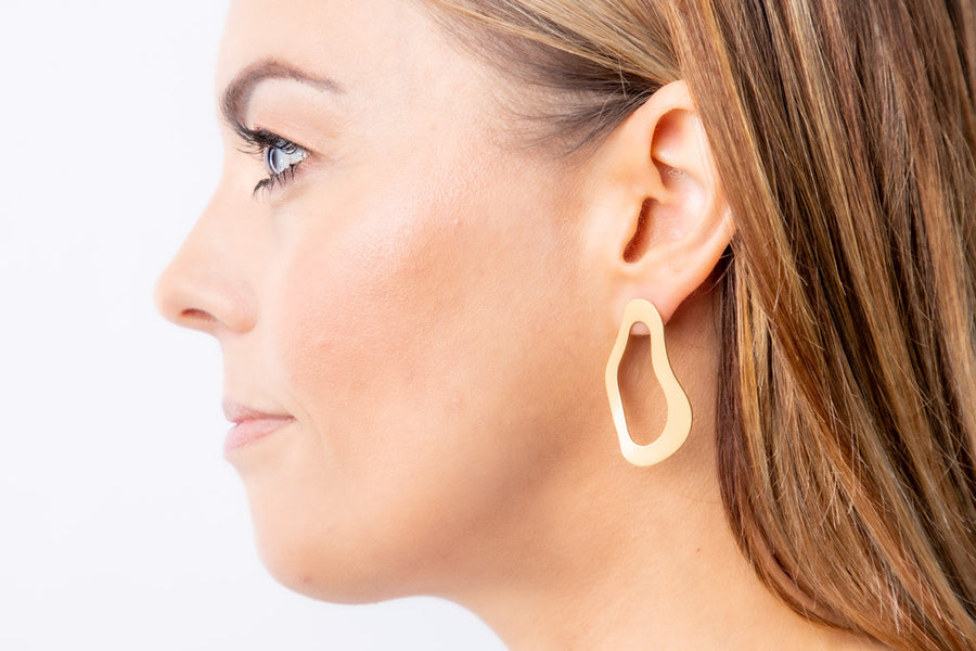 Abstract matt gold earrings