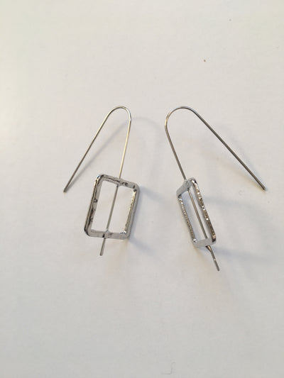 Square hammered silver earrings