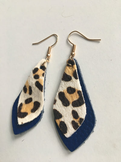 Blue and animal print earrings