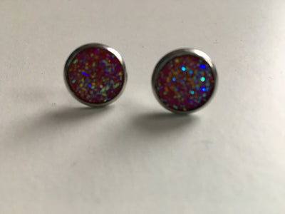 Pink sparkly resin studs