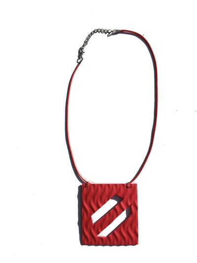 Red geometric foam necklace