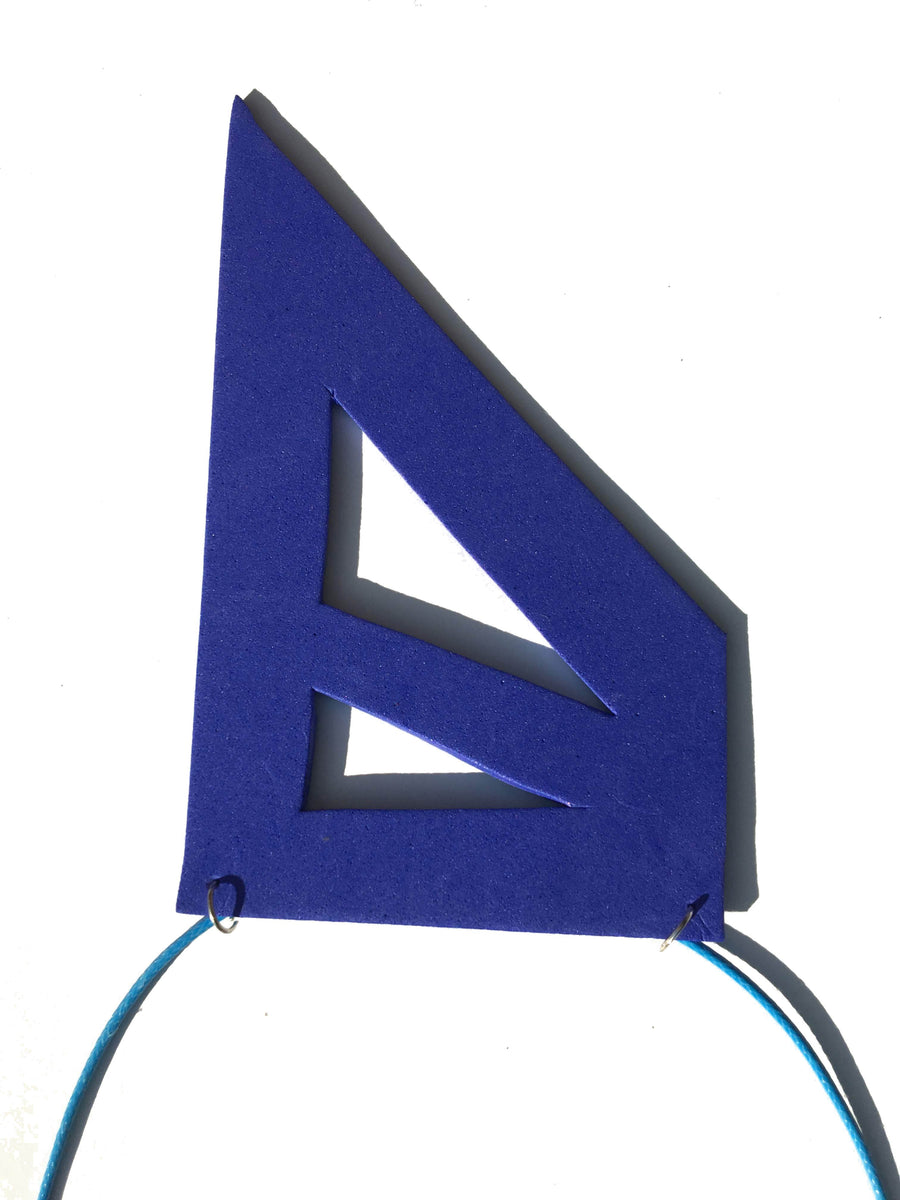 Blue geometric foam necklace