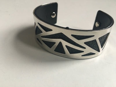 Black and silver geometric bracelet