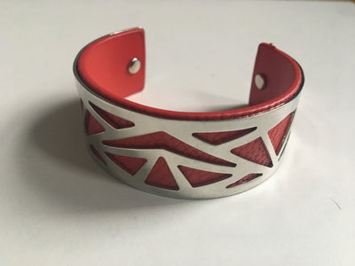 Red and silver geometric bracelet