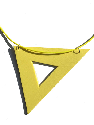 Yellow geometric foam necklace
