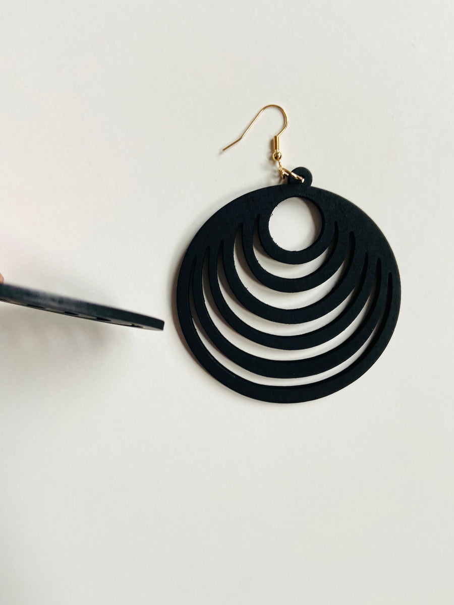 Black circle cut wood dangle earrings