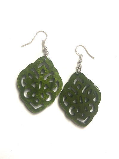 Green resin shaped earrings