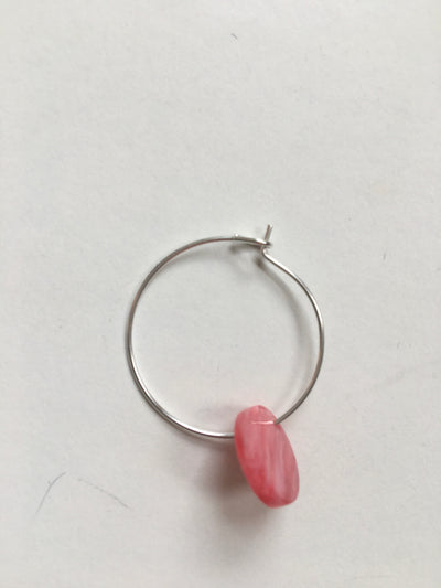 Pink charm hoops