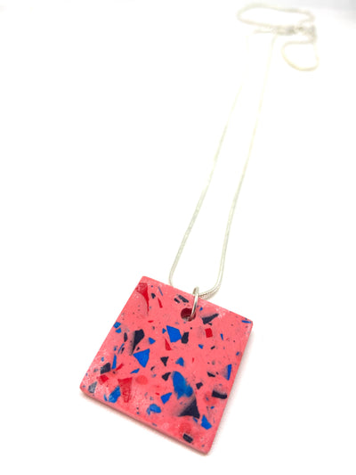 Pink vivid jesomite square necklace
