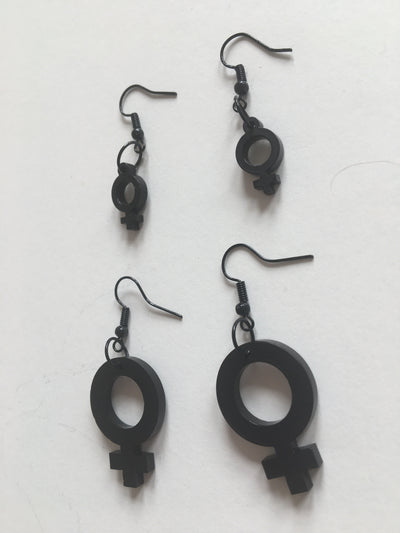 Female sign black small acrylic earrings