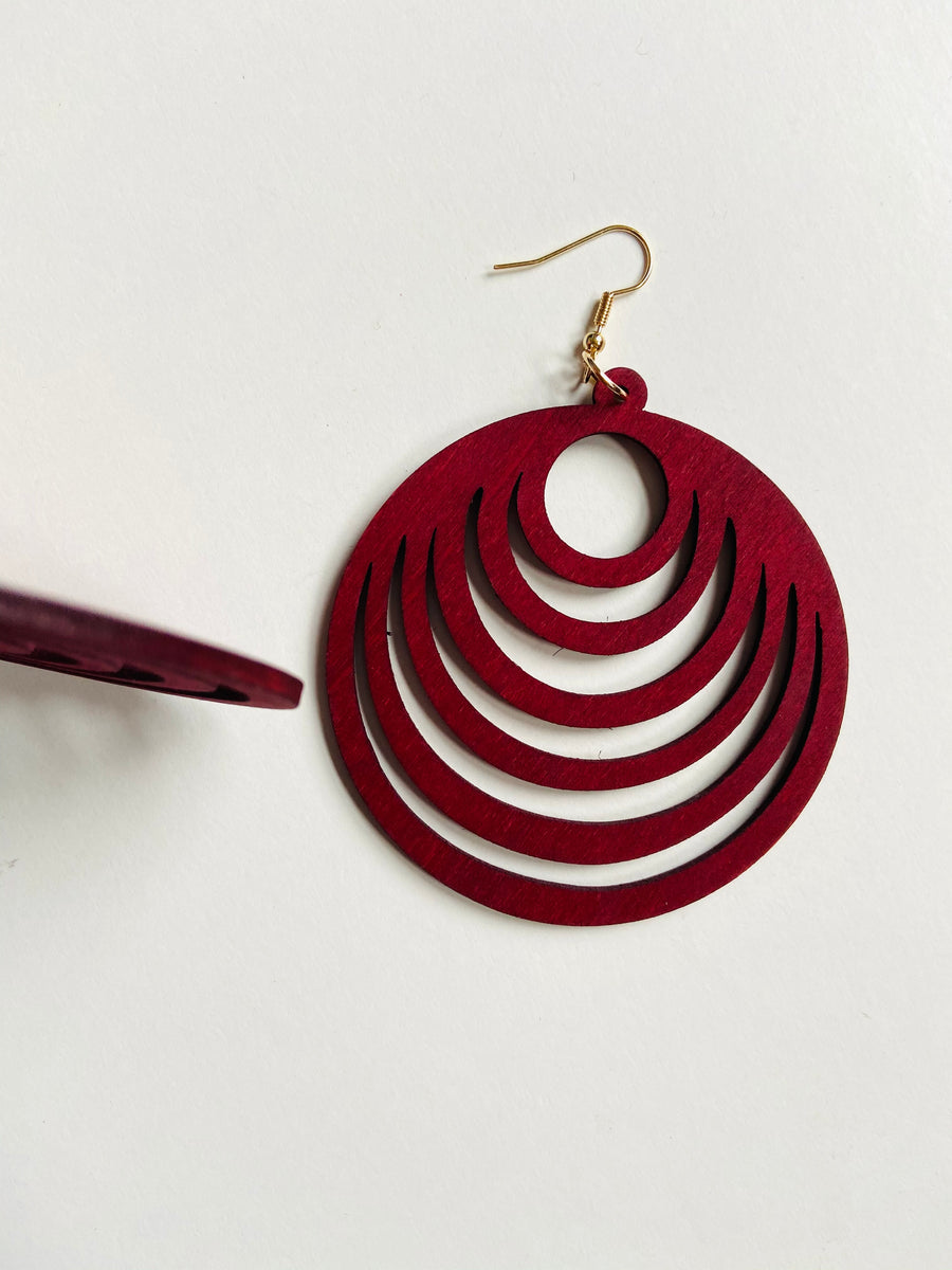 Burgundy circle cut wood dangle earrings