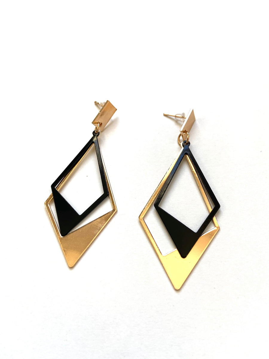 Black and gold strong diamond shaped earrings