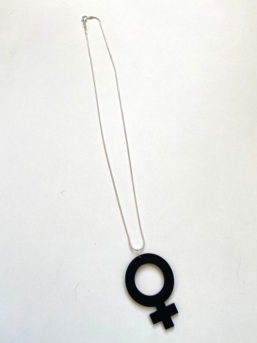 Black female sign acrylic necklace