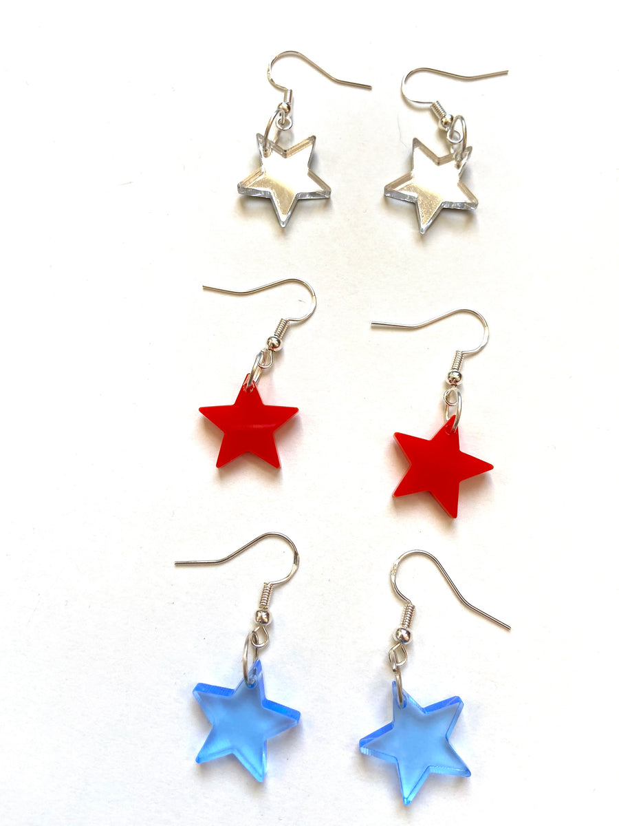 Mirrored solid star acrylic earrings