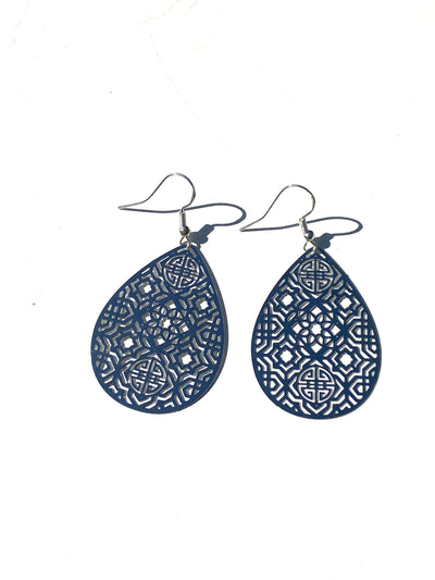 Moroccan bohemian teari dangle - silver