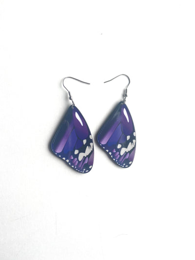 Purple medium butterfly earrings