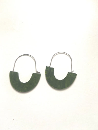 Green hooped resin earrings